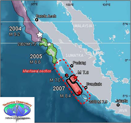 Recent large earthquakes in Sumatra region